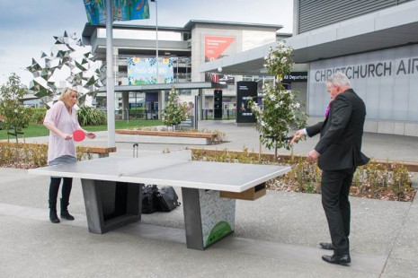 Christchurch Airport playing table tennis